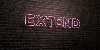EXTEND -Realistic Neon Sign on Brick Wall background - 3D rendered royalty free stock image. Can be used for online banner ads and direct mailers Royalty Free Stock Image