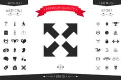Extend, resize icon. Cross arrow sign. Element for your design Stock Image