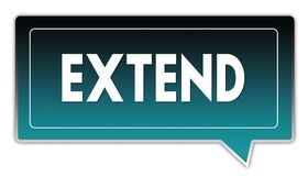 EXTEND on turquoise to black gradient square speech bubble. Illustrations Royalty Free Stock Images