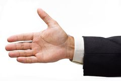 Extended  businessman's hand for a handshake. Stock Image