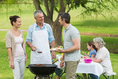 Extended family with barbecue in park Royalty Free Stock Photo