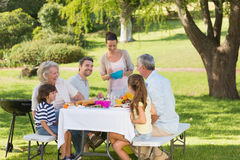 Extended family dining at outdoor table Stock Image