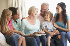 Extended Family Group Celebrating Birthday Stock Image
