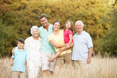 Extended Family Group In Park. Portrait Of Extended Family Group In Park stock images