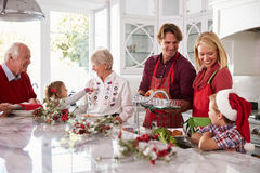 Extended Family Group Preparing Christmas Meal In Kitchen Stock Image