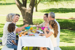 Extended family having lunch in lawn Royalty Free Stock Images