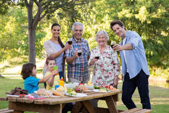 Extended family having an outdoor lunch Royalty Free Stock Images