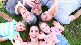 Extended family lying in the park together smiling up at camera stock video