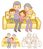 Extended Family Mascot in a Sitting on the sofa.Marriage and Par Royalty Free Stock Image