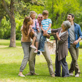 Extended family playing in park Royalty Free Stock Photography