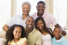 Extended family sitting on sofa. Extended family sitting on a sofa