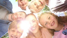 Extended family standing in the park together smiling down at camera stock footage