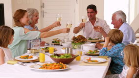 Extended family toasting at dinner