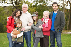 Extended Family On Walk Through Countryside. Extended Family Group On Walk Through Countryside Stock Photography