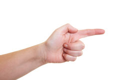 Extended forefinger. Hand with extended forefinger on white background royalty free stock photography