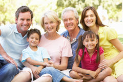 Extended Group Portrait Of Family Enjoying Day. In Park Royalty Free Stock Photography