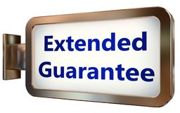 Extended Guarantee on billboard background. Extended Guarantee wall light box billboard background , isolated on white Royalty Free Stock Photo