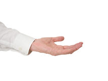 Extended hand. Older man with outstretched hand, white backgroun. Asking or offering? Asking for pension maybe Royalty Free Stock Photography