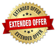 Extended offer 3d gold badge Royalty Free Stock Photo