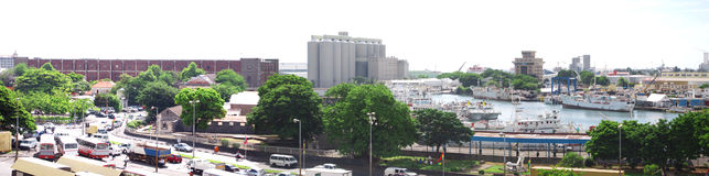 Extended panoramic view of Port Louis harbour zone. Bird\'s eye panoramic view of Port Louis harbour area Royalty Free Stock Images