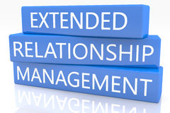Extended Relationship Management. 3d render blue box with text Extended Relationship Management on it on white background with reflection Royalty Free Stock Images