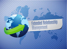 Extended relationship management globe concept. Illustration design over a world map background Royalty Free Stock Photo