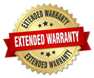Extended warranty 3d gold badge Stock Photos