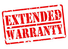EXTENDED WARRANTY stamp with red text on white Stock Image