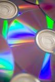 Extendido completamente plano del disco compacto con el lado brillante para arriba Imagen de archivo