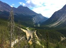 Breathtaking view of Canadian Rockies in Jasper National Park stock image