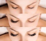 Extensão da pestana Comparação dos olhos fêmeas antes e depois Imagens de Stock