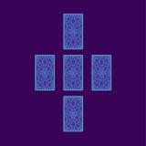 Extensión cruzada simple del tarot Lado trasero de cartas de tarot Foto de archivo libre de regalías
