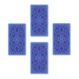 Extensión de cuatro cartas de tarot Cierre para arriba ilustración del vector
