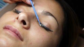 Extensión de la pestaña Mujer joven hermosa en procedimiento de la extensión de la pestaña El Cosmetologist lubrica las pestañas  metrajes