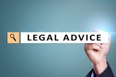 Extensión del asesoramiento jurídico en la pantalla virtual Consultoría Abogado en la ley abogado, concepto del negocio y de las  foto de archivo libre de regalías
