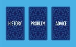 Extensión del tarot de tres tarjetas Solución del problema Imagen de archivo libre de regalías