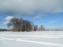 Extensión extensa del campo, cubierta por la manta abundante de la nieve debajo del cielo azul nublado Fotografía de archivo