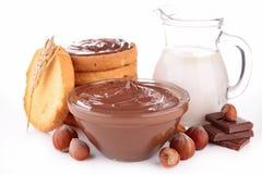 Extensión, pan y leche del chocolate Foto de archivo libre de regalías