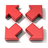 Extensión roja de las flechas 3D Visión superior Foto de archivo libre de regalías