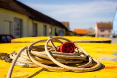 Extension cord. For electricity in the industry yard royalty free stock image