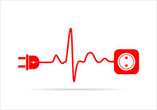 Extension cord in the form of heartbeat. Vector illustration. Stock Photos