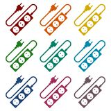 Extension cord icons set stock illustration