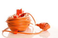 Extension cord isolated on white Stock Images