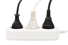 Extension cord with plugs. Isolated over white stock photo