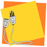 Extension cord white. With color background Stock Images