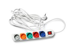Extension cord on white background, top view. Electrician`s equipment stock photography