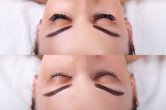 Extension de cil Comparaison des yeux femelles avant et après Image stock