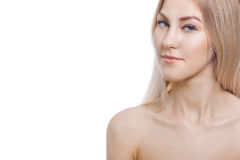 Extension eyelashes. Portrait of beautiful young woman with perfect skin. Beauty and care. Spa salon Stock Photos