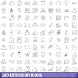 100 extension icons set, outline style Stock Image