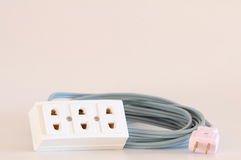Extension plug with long cable Royalty Free Stock Images